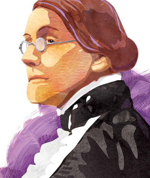 Collage portrait of Susan B. Anthony.
