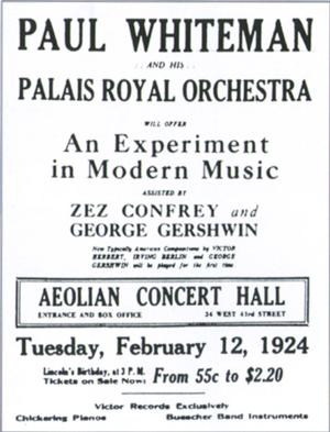 Anuncio del concierto organizado por Paul Whiteman en el Aeolian Concert Hall.