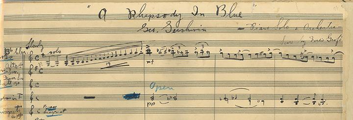 Glissando del clarinete en la partitura de George Gershwin.