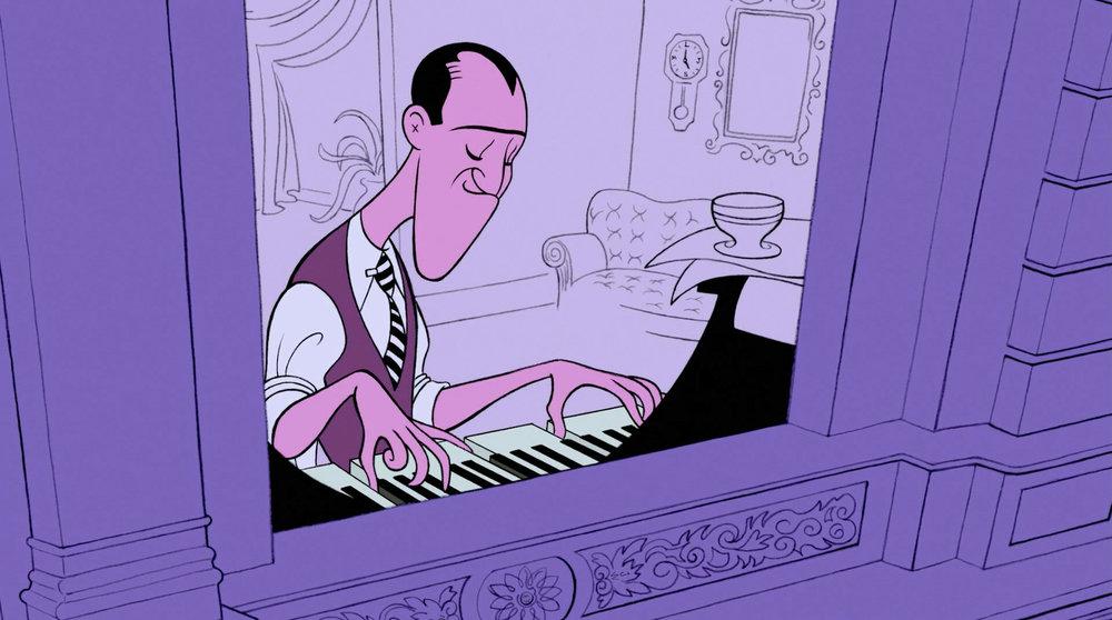 """George Gershwin en un fotograma de la película """"Fantasía 2000"""". Fotograma de Disney."""