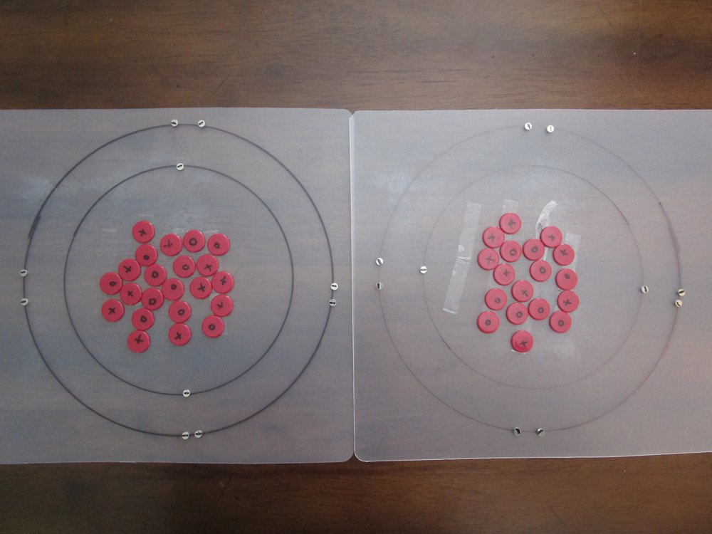 Positively charged sodium is on the left, negatively charged fluoride is on the right