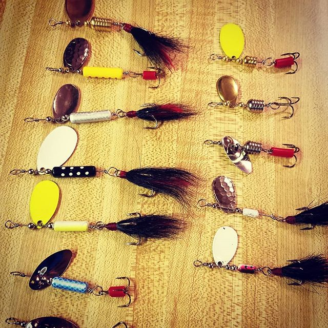 Which custom handmade spinner do you want to throw? #bassfishing #fishbrain #fishing #michiganfishing #customfishinglures #handmadelures #pikefishing #smallmouthnation #muskiefishing