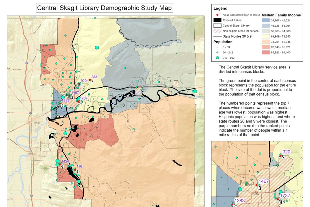 Central Skagit Library District Map - We conducted a site suitability analysis to determine the optimal location of a new library branch within the Sedro-Woolley Skagit library district.