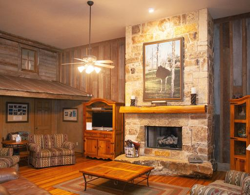Big Bird Lodge - This gathering space has an incredible entry, beautiful stone fireplace, reclaimed hardwood floors, comfortable seating, a kitchenette, and décor that pays tribute to our historic past—Chisholm Trail Ostrich Farm. This space is available only when lodging is also booked in Big Bird.[Accommodates up to 20 people]