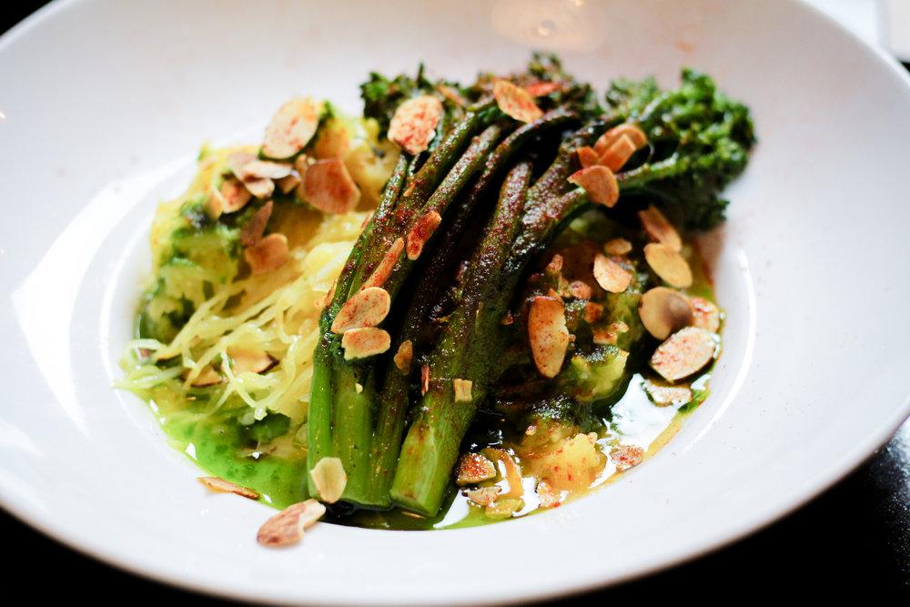 SPAGHETTI SQUASH Broccolini, Toasted Almonds, Salsa Verde, Pimento