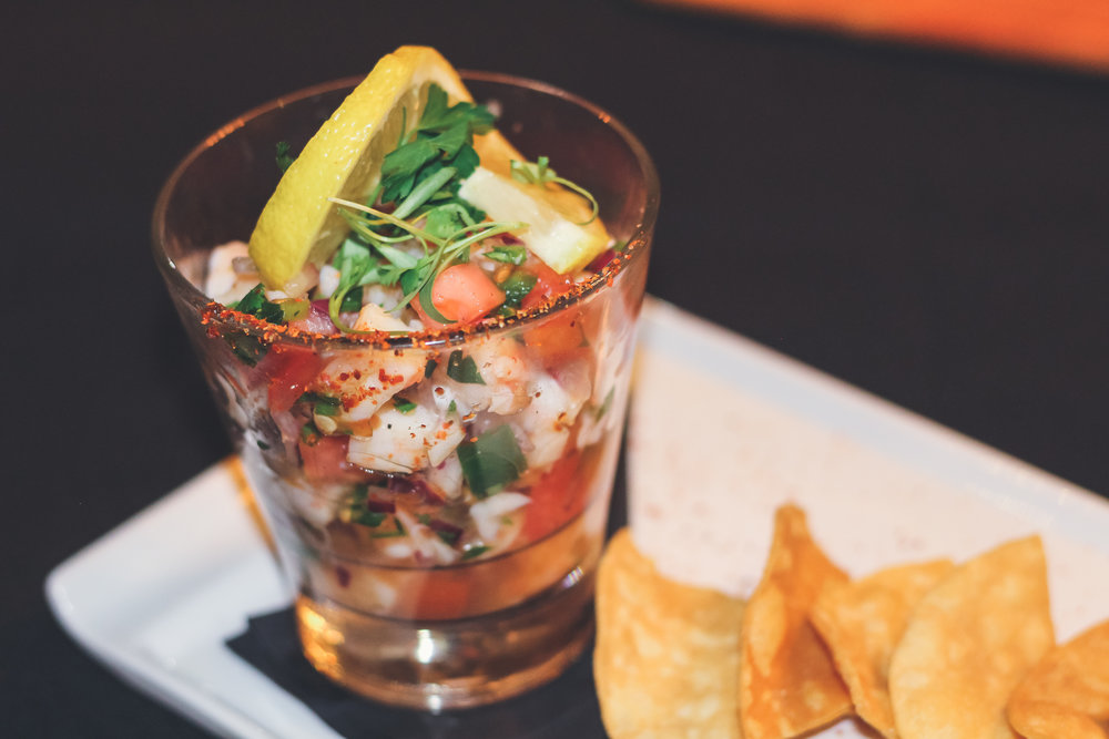 Shrimp Ceviche Fresh tomatoes, onions, cilantro, jalapenos, and real lime juice