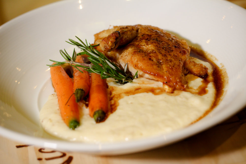 ORGANIC BREAST OF CHICKEN SOFT WHITE POLENTA BRAISED BABY CARROTS NATURAL THYME JUS