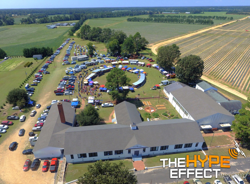 Aerial Photo of the 2017 Coharie Pow Wow filmed by The Hype Effect