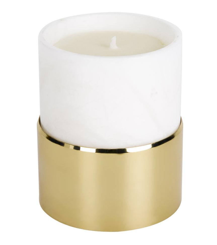 La Cire Vessel Candle Alabaster Gold Fleur Blanche Gordonpalmer