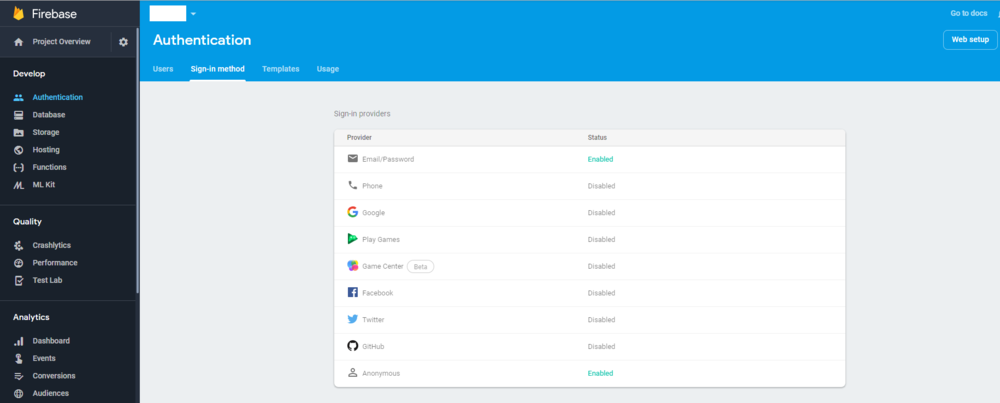 Firebase Project (Web Setup top right corner)