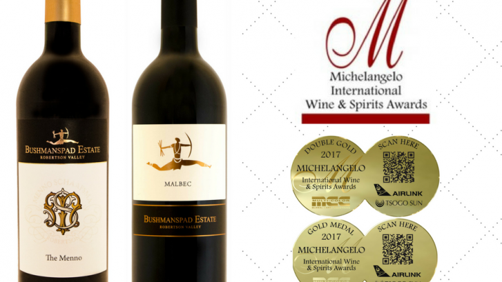 The Michelangelo International Wine & Spirit Awards gives local and foreign wines the opportunity of being judged by a panel of acclaimed wine experts from around the globe.  Bushmanspad Estate, in the Robertson Wine Valley, received Double Gold for our Red Blend, The Menno 2015 and Gold for the Malbec 2015 on 29 September at The Southern Sun Hotel in Cape Town.