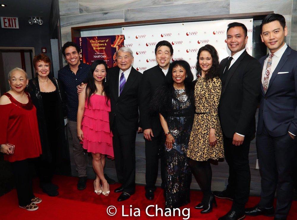 (L-R) Lori Tan Chinn, Donna McKechnie, Adam Jacobs, Yuka Sakura, Alvin Ing, Raymond J. Lee, Baayork Lee, Ali Ewoldt, Jose Llana, & Karl Josef Co