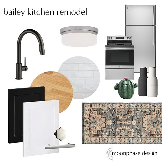 """When my sister bought a condo and texted me """"will you design my kitchen?"""" I was OVERJOYED. Her only requests were to be budget-conscious and butcher block countertops. I got you sis. #moodboardmonday, family style."""