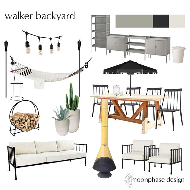 I am more than ready for Spring so this #moodboardmonday is heading outside. Your yard can be treated like any other room inside your house and should also be a space you love to be in and entertain in! everything in this plan can be found at @ikeausa, @worldmarket, @target, @amazonhome, or can be DIY-ed (like the table!).