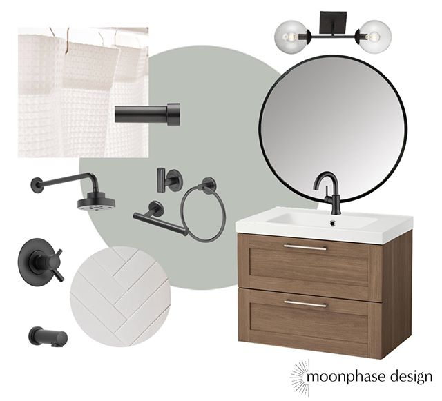 this week's #moodboardmonday is my very own bathroom! our little 1200sf ranch has one full bathroom and one half bath off the main bedroom that was added during the remodel right before we bought it. but this is the bathroom everyone who visits us uses and when we moved in was very....beige. we are currently living with the terrible shower tile for the foreseeable future and the existing vanity is *fine* but not a wood i would've chosen. but a coat of paint and switching out some fixtures can do wonders. I'll get some before and after/progress shots for y'all soon.