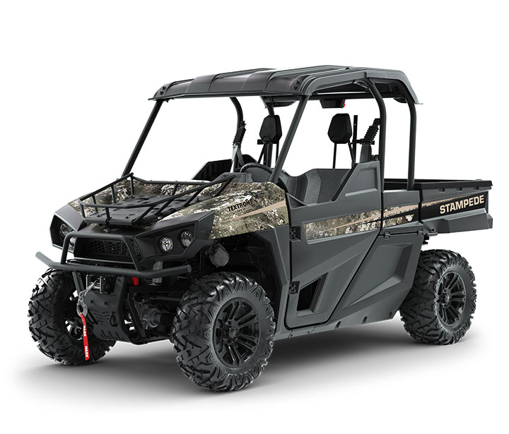 STAMPEDE HUNTER EDITION / 2-PASSENGER ($16,999)   WARN 4,000-lb Winch  >>  Standard Roof  >>  Dual Gun Mounts  >>  80HP EFI Engine  >>  59 lb-ft of Torque  >>  On-Demand AWD  >>  Electronic Power Steering  >>  Four-Wheel Double A-Arm Suspension  >>  Standard Hood Rack    WATCH THE VIDEO    or    TAKE A VIRTUAL TEST DRIVE
