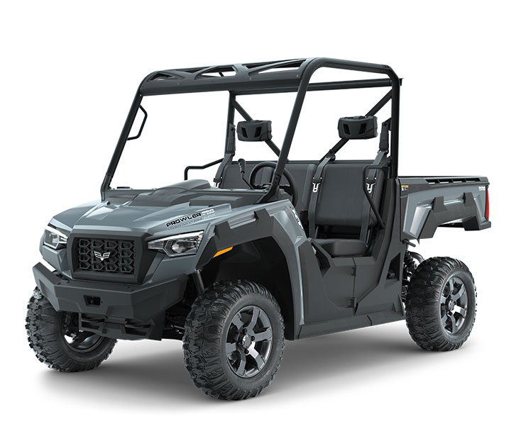 PROWLER PRO XT / 3-PASSENGER ($12,999)   Whisper-Quiet 50HP EFI Gas Engine with 812cc  >>  Vibration-Reducing Frame  >>  Electronic Power Steering (EPS)  >>  Aluminum Wheels  >>  3-Passenger Bench Seating  >>  Pro-Terrain 26x10-14 Front and Rear Tires  >>  10-inch Front and 9.5-inch Rear Travel  >>  10.75-inch Ground Clearance  >>  2,000-lb Towing Capacity  >>  1,500-lb Payload Capacity >> 1,000-lb Capacity Cargo Box with Tilt  >>  17.95 cu-ft of Storage  >>  Electronically Selectable 4WD  >>  Selectable Locking Rear Differential    WATCH THE VIDEO    or    TAKE A LOOK AT THE FEATURES