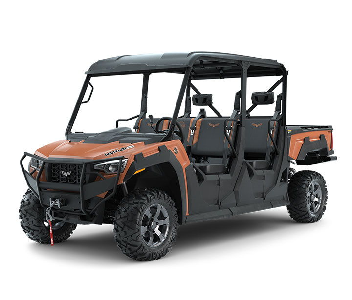 PROWLER PRO CREW RANCH EDITION / 6-PASSENGER ($17,199)   6-Passenger Bench Seating  >>  27-inch Maxxis Bighorn Tires  >>  Premium Seats >> Standard Roof  >>  4,500-lb WARN Winch  >>  Front Brushguard  >>  Rear Bumper  >>  Whisper-Quiet 50HP EFI Gas Engine with 812cc  >>  Noise and Vibration Eliminating Frame  >>  10-inch Front and 9.5-inch Rear Suspension Travel  >>  Electronic Power Steering (EPS)  >>  812cc Liquid-Cooled 3 Cylinder EFI Engine  >>  2,000-lb Towing Capacity    WATCH THE VIDEO    or    TAKE A LOOK AT THE FEATURES