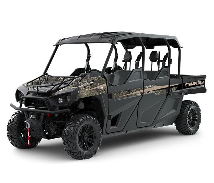STAMPEDE 4 HUNTER EDITION / 4-PASSENGER ($18,199)   WARN 4,000-lb Winch  >>  Standard Roof  >>  Dual Gun Mounts  >>  80HP EFI Engine  >>  59 lb-ft of Torque  >>  On-Demand AWD  >>  Electronic Power Steering  >>  Four-Wheel Double A-Arm Suspension  >>  Standard Hood Rack    WATCH THE VIDEO    or    TAKE A VIRTUAL TEST DRIVE