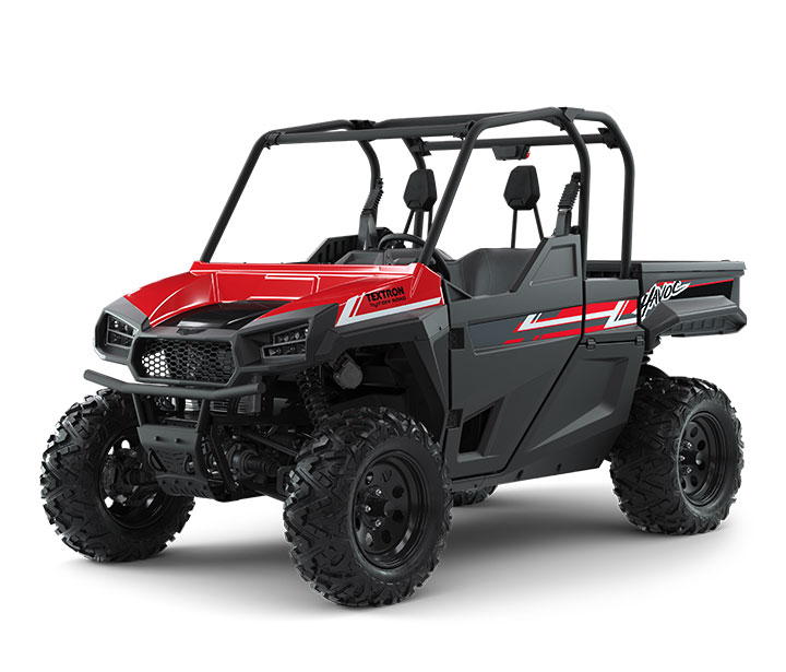 HAVOC / 2-PASSENGER ($16,299)   Precision-Tuned 100HP EFI Engine  >>  Class-Leading 12.8-inch Front Suspension Travel  >>  Class-Leading 2,000-lb Towing Capacity  >>  Class-Leading 24 cu-ft of Storage with Extended Cab    WATCH THE VIDEO    or    TAKE A VIRTUAL TEST DRIVE