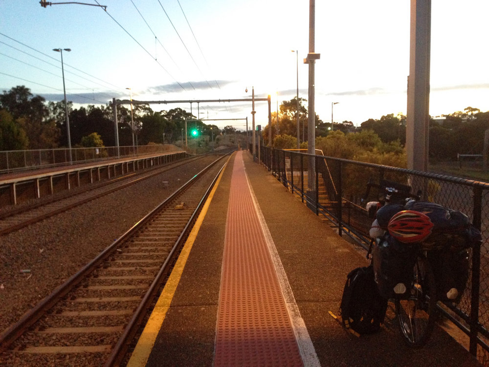 Fully loaded bike and Waiting in Morpheme Vale railway station to go to City centre.