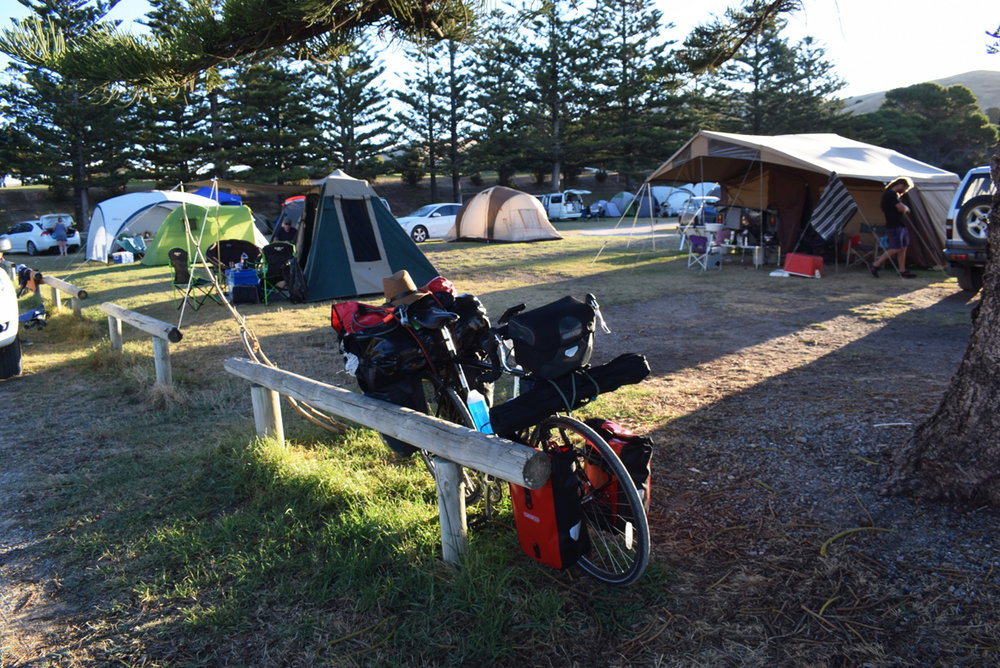 First day of riding till Rapid bay and getting ready to put my tent.