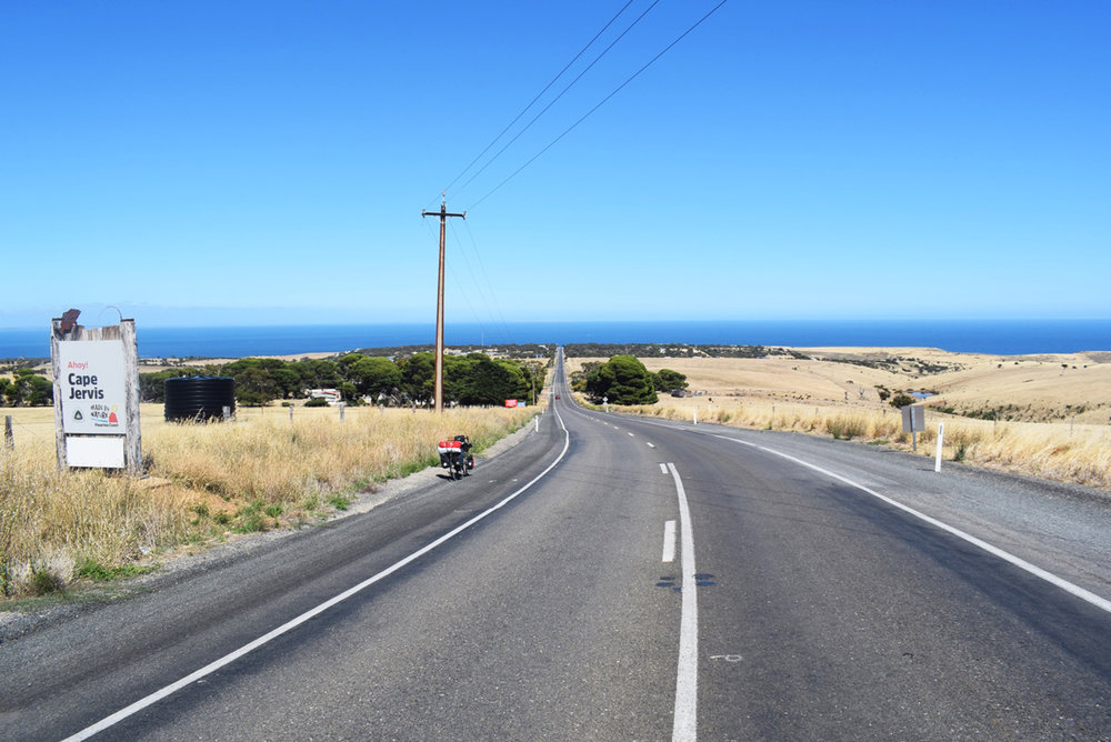 Riding towards Cape Jarvis to catch ferry.