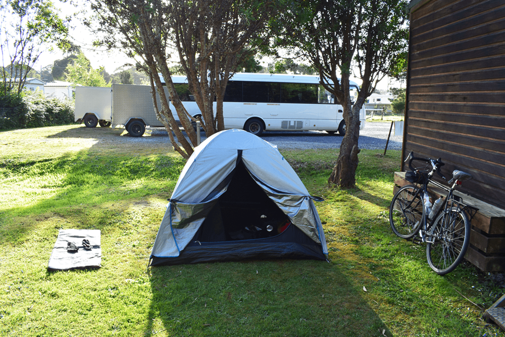 My search comes to an end at a nearby hostel and they finally offered me one of their spots for camping.