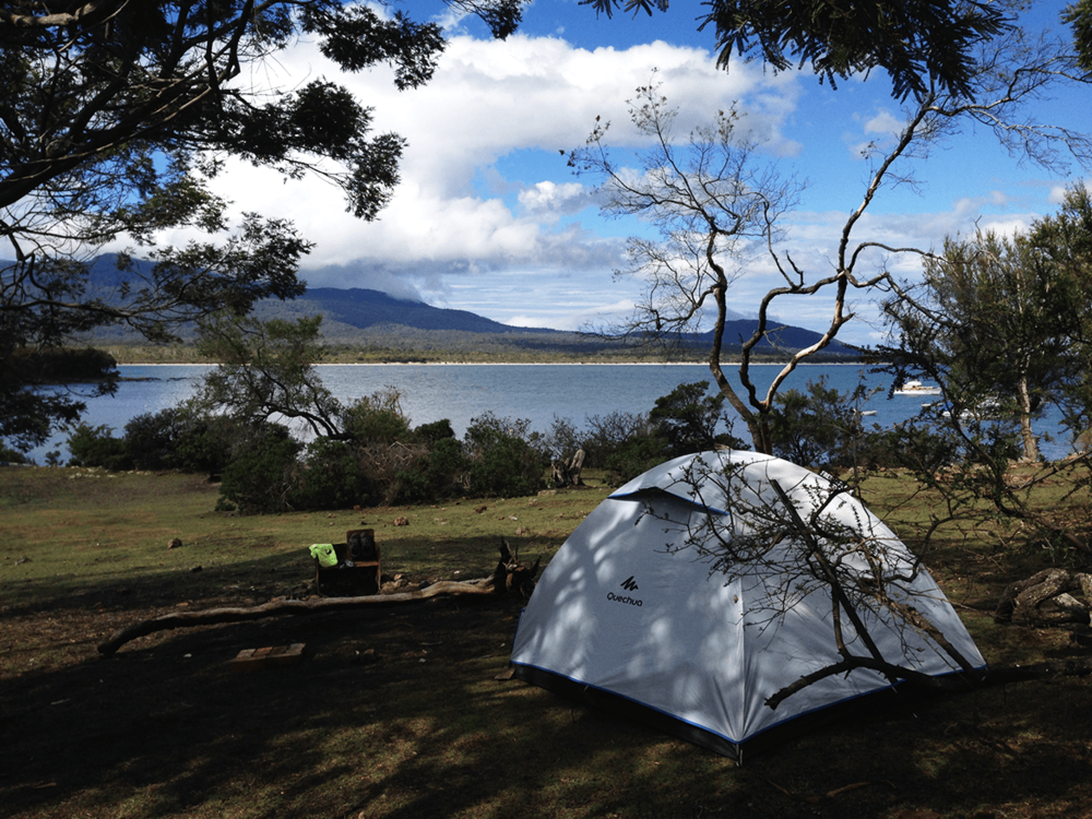 Camping at Encampment Cove with beautiful view.