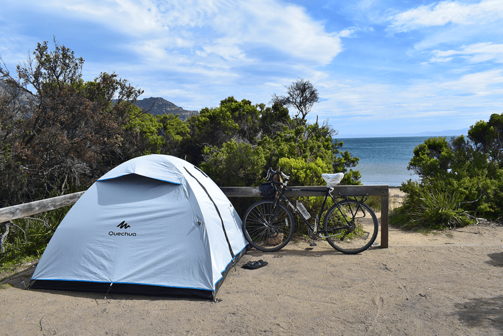Camping at Freycinet National Park.