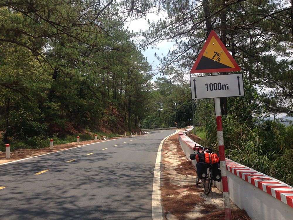The ascent began from here with too much traffic. Da Lat is one of the famous tourist spots and i experienced too much traffic on these hilly roads.