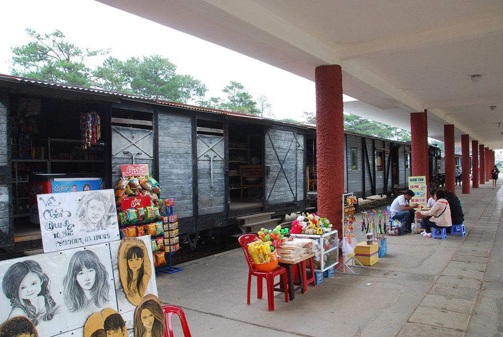 Each bogie in a discarded train redesigned to be used as shops.