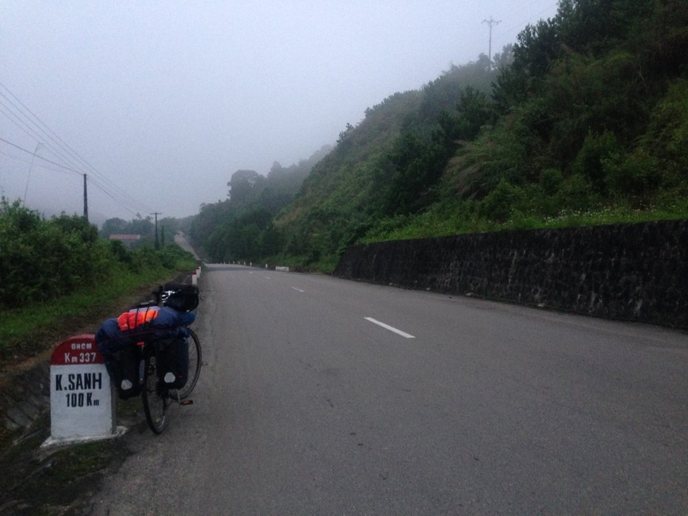 Left early morning at 5:30am to ride another 108 KM to the famous Khe Sanh.