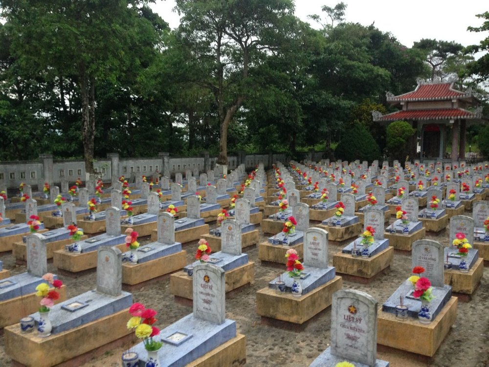 Truong Son Martyrs' Cemetery. Quang Tri is one of the most bombed areas in Vietnam and so many soldiers have fought hard to protect the legendary Ho Chi Minh Trail.