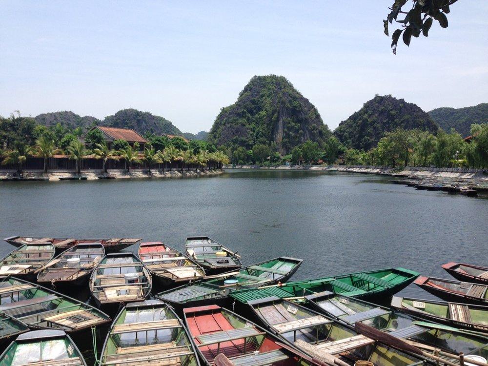 Parked boats at Tam Coc, Ninh Binh.