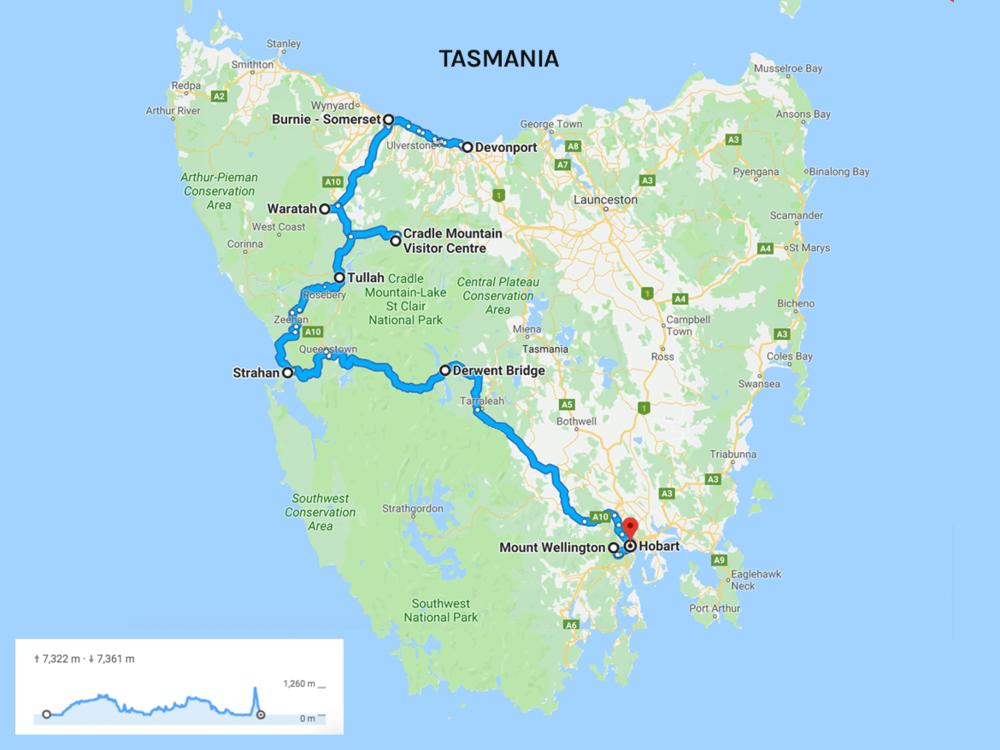 Devonport - Burnie Somerset - Waratah - Cradle Mountain - Tullah - Strahan - Lake Burbury - Derwent Bridge - Hamilton - Hobart - Mount Wellington - Hobart - Around Bruny Island.