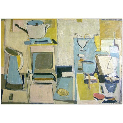 """#janicebiala #painterbiala: """"White Still Life,"""" 1951, Oil on canvas, 25 1/2 x 36 in. (66 x 91.4 cm), Collection of the Estate of Janice Biala   While Biala considered herself a figurative painter, her work consistently projects frontally, formal implications, and structural clarity. Often, like in this #stilllifepainting, the direct sensuous address of her seemingly effortless compositions belies their foundation in a geometric scaffolding of colors that approach the abstract.   #americaninparis #artiststudio #ladypainter #schoolofparis #newyorkschool"""