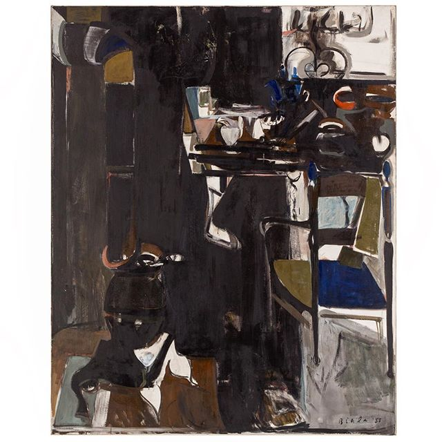 """#janicebiala #painterbiala: """"Black Interior (Cold Water Flat),"""" 1955, Oil on canvas, 63 3/4 x 51 1/8 in. (162 x 129.8 cm) Collection of @whitneymuseum   """"Biala has shifted her emphasis from the objects in the natural world to the elements that shape them, but her painting are still happily rooted in what she sees […] but with long free strokes and fresh but muted color […] Once solids have been dissolved by the elements, new values appear […] The space is ambiguous, fluid, metaphorical rather than literal, and the lightly construed paintings carry the savor of Miss Biala's experiences."""" -#DoreAshton, @nytimes, Oct 30, 1959   #coldwaterflat #womanpainter #americaninparis #stilllife"""