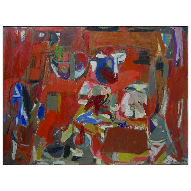 """#janicebiala #painterbiala: """"Red Still Life,"""" 1957, Oil on canvas, 35 x 46 in. (88.9 x 116.8 cm) Collection of @denverartmuseum   This painting is a prime example of Biala's fine assimilation of the #schoolofparis and the gestural energy of #abstract expressionism   #womenpainter #ladypainter #abstractexpressionism #schoolofparis #americaninparis"""