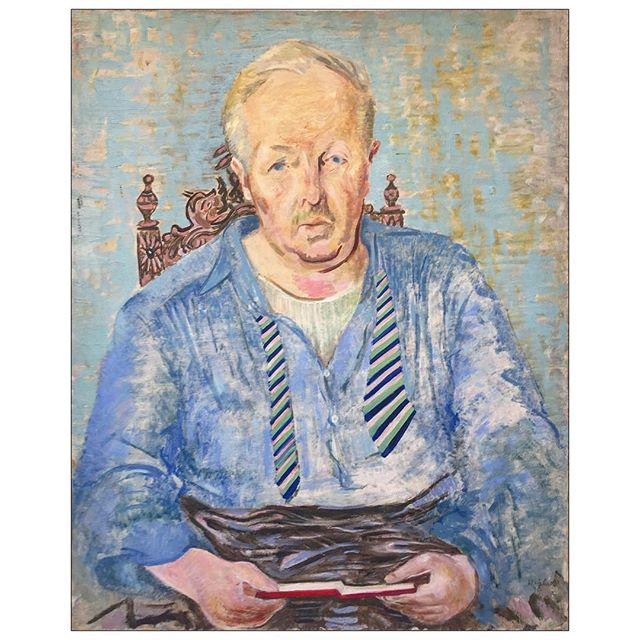 """#janicebiala #painterbiala: """"Portrait d'un écrivain (Portrait of a Writer, Ford Madox Ford),"""" 1938, Oil on panel, 32 x 25 ½ in. (81.28 x 64.8 cm) Collection of the Estate of Janice Biala, New York   #OnViewNow thru Sept 30 at @paam1914   This portrait is the third and last major portrait Biala painted featuring her companion, the #EnglishNovelist #FordMadoxFord. During their time together his prose and her paint interwove a canvas artistically rich and historically significant for both writer and painter. Ford introduced her to all the artists forging a new Modernism including #Brancusi, #Matisse, #Picasso and #GertrudeStein. """"The years I spent with him were a long passionate dialogue,"""" Biala said. Together they practiced their art and lived by it """"in the teeth of every disaster."""" Biala remained at his side until his death on June 26, 1939. And there after became his literary advocate.   #womenpainters #ladypainter #womenartists #womenartistsofinstagram #schoolofparis #americaninparis #fordmadoxfordsociety"""