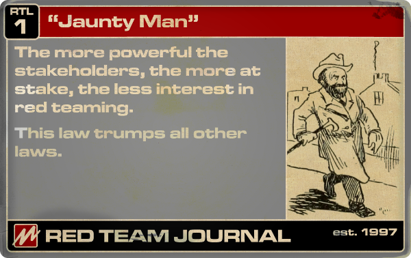 """Red Teaming """"Law"""" #1 ( """"Jaunty Man"""" )"""