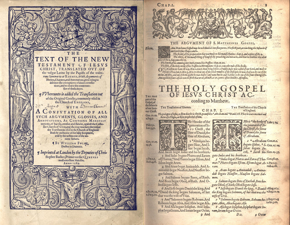Title_Page_of_the_Rheims_New_Testament_with_the_first_page_of_the_Gospel_According_to_Matthew_Compared_with_the_Bishop's_Bible,_1589.jpg