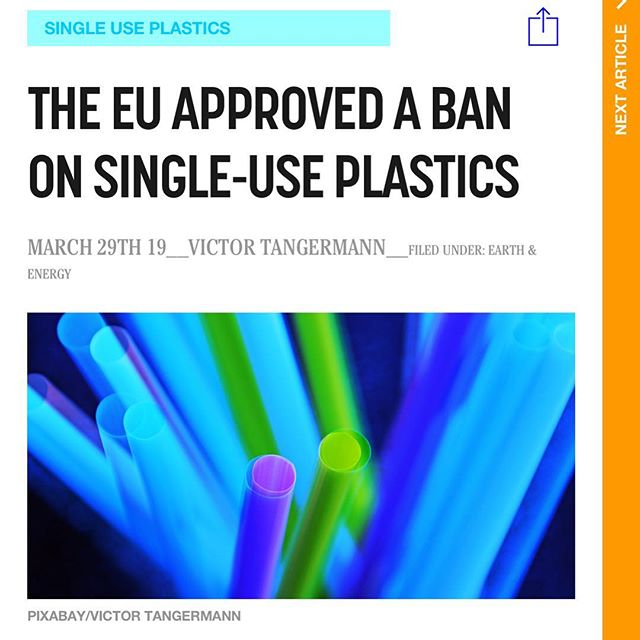 """We have deep gratitude for the EU Parliament's @epiouk exemplary & ground-breaking decision to BAN single-use plastics by 2021. Our planet & oceans depend on every single country following suit and it is our *hope* that this ban is just the beginning of what will be a series of WORLDWIDE, overbroad bans on single use plastics. 🙏 . . From @futurism 👉 """"The European parliament voted Wednesday to support plans for the elimination of most uses of single-use plastic, ranging from cutlery and straws to coffee stirrers and plastic plates. . It's a significant step that could encourage other governments around the globe to also commit to reducing the amount of plastics that end up in landfills, waterways, and oceans — but it's not going to be instituted overnight. . We've reported previously about large cities banning single-use plastic straws, which pose a serious threat to marine life. Seattle became the first major U.S. city to ban them in July 2018 to avoid dumping more plastic into our planet's oceans. . But the entire EU backing a ban is a major move — and one that could push other areas around the world to follow suit."""" 🙌🌎🙌"""