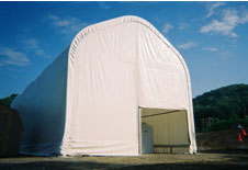 CDM Construction Gable Style. 24ft W x 54ft L x 21ft H with 16ft side walls. Covers a water treatment plant so repairs can be made.