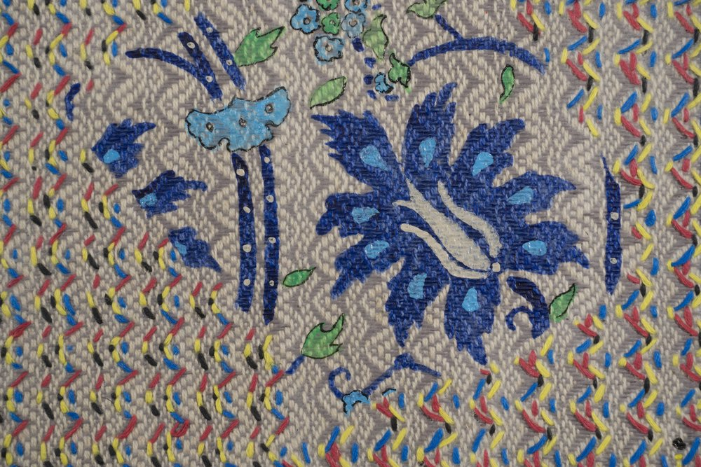 Mark Barrow & Sarah Parke  Origin , 2019 (detail) Embroidery and Acrylic on Hand-Loomed Linen 19 ⅝ × 15 ¾ inches (49.85 × 40.01 cm)