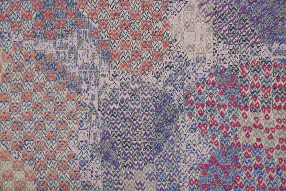 Mark Barrow & Sarah Parke  Future Homemakers of America , 2019 (detail) Acrylic and Embroidery on Hand-Loomed Linen 17 ¾ × 15 ¾ inches (45.09 × 40.01 cm)