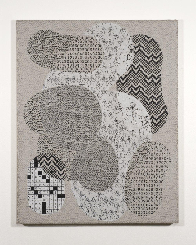 Mark Barrow & Sarah Parke  0N10N , 2019 Acrylic on Hand-Loomed Linen 19 ⅝ × 15 ¾ inches (49.85 × 40.01 cm)