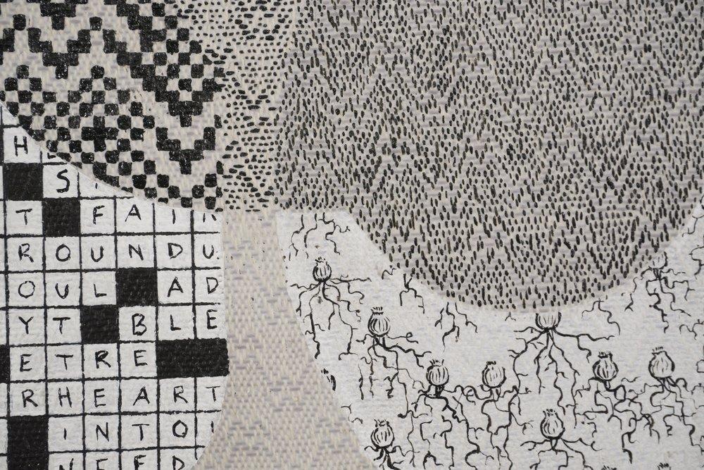 Mark Barrow & Sarah Parke  0N10N , 2019 (detail) Acrylic on Hand-Loomed Linen 19 ⅝ × 15 ¾ inches (49.85 × 40.01 cm)
