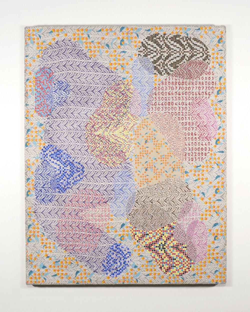 Mark Barrow & Sarah Parke  Eden , 2018 Acrylic on Hand-Loomed Linen 19 ¼ × 15 inches (48.90 × 38.10 cm)