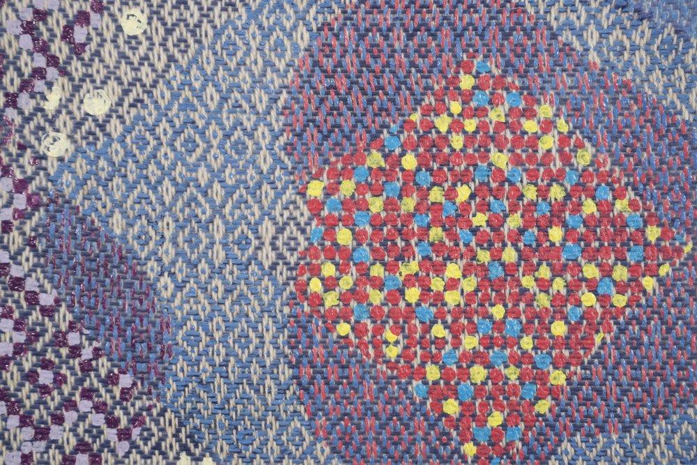 Mark Barrow & Sarah Parke  Ouroboros , 2018 (detail) Acrylic on Hand-Loomed linen 18 × 16 inches (45.72 × 40.64 cm)